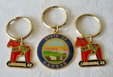 3 Vintage State of KANSAS & LINDSBORG KS Keychains Key Rings Metal Enamel Estate