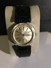 A Vintage Solid 14k White Gold Mens Longines Watch, With A Florentine Bezel