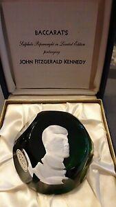 MIB BACCARAT Crystal JFK Paperweight Sulphide John Kennedy Green Base LMT ED