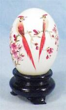 Chinese Pheasants Decorative Egg on Stand in Original Box Hand Painted China