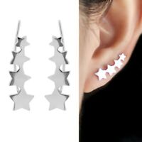 Solid 925 Sterling Silver Linked Four Stars Curvy Climber Crawler Earrings