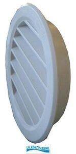 Bocchetta per ventilazione tonda in plastica da incasso d.mm. 120  griglia aria