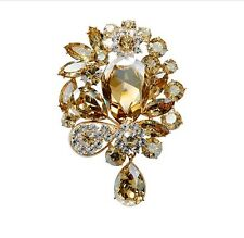 Luxury Golden Shadow Large Presentable Crystal Corsage Brooch Pin BR127
