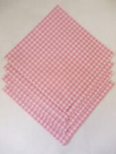 "Set of 4 Pink Gingham Fabric Napkins 19"" x 19"" Square (65% Poly 35% Cotton)"