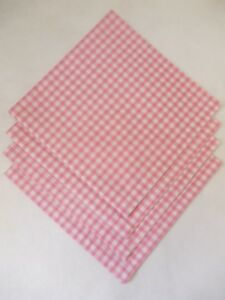 """Napkins Set of 4 Pink Gingham Fabric 19"""" x 19"""" Square (65% Poly 35% Cotton)"""