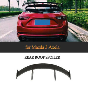 Matt Black Rear Roof Spoiler Wing Tail Lip FRP For Mazda 3 Axela Hatchback 14-19