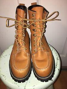 Vtg Unused Vibram Field & Stream Upland Moc Toe Boots Leather USA Sz 9.5 Hunting