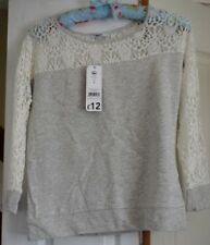Women's  Ladies  pale grey and lace top   size 8 New with tags