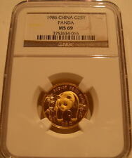 China 1986 Gold 1/4 oz Panda 25 Yuan NGC MS-69