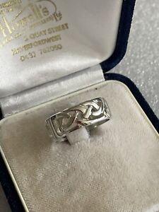 Vintage Irish Ireland Dublin 925 Silver Celtic Knot Band Ring Size P Christmas