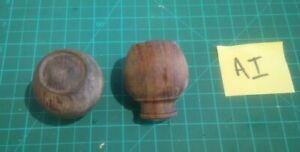 Pair Victorian wooden door knobs 1 3/4 inch diameter restored