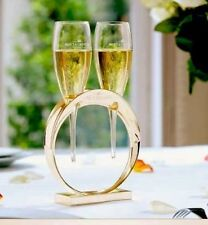 MOET CHANDON CHAMPAGNE LOVERS GOLDEN WEDDING BAND POMPONNE GLASS HOLDER 2 glass