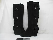 DV Dolce Vita Black Suede Leather Knee High Buckle Fashion Boots Size 8 M
