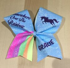 Unicorn Glitter  CHEER BOW CHEERLEADING  + Any   NAME 15 Colours To Choose From
