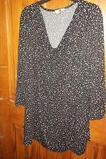 CJ  Banks Shirt Cowl Neck Black White Polka Dots Sze 3X