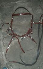 Leather look FULL Micklem style SIDE PULL BITLESS BROWN bridle & reins
