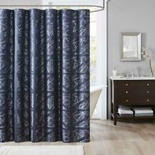 Madison Park Nico Jacquard Shower Curtain Navy Blue 72x72