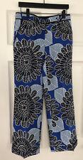 Tory Burch Tory  100% Silk  Pants Size 6 Slim Blue Floral Logo Buttons DIVINE
