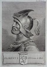 Gravure Antique print FLORENT I, 6ème Comte de Hollande Flipart Count of Holland