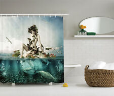 Shower Curtain Mermaid Sitting on Shell Fishes Abstract Art 84 Inches Extra Long
