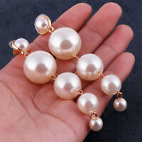 Women Elegant Big Simulated Pearl Long Tassel Statement Dangle Fashion Earring