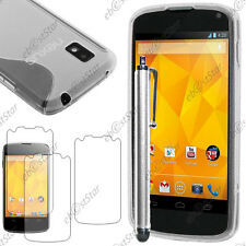 Housse Etui Coque Silicone S-line Transparent LG Nexus 4 E960 + Stylet + 3 Films