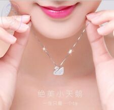 New Design Sterling Silver Crystal Cute White Swan Pendant Necklace Gift Box I13