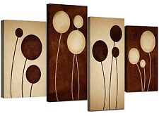 Large Brown Cream Abstract Floral Canvas Wall Pictures Prints Art 4123