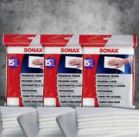 SONAX PolierVlies Tücher  Poliertuch 422200 3 Packungen mit je 15 Stück