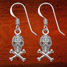 Small Sterling Silver Skull & Crossbones Wire Earrings w/Faceted Crystals