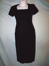 Talbots Petite Solid Black Velvet Midi Fitted Sheath Dress Size 8P Formal