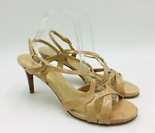 Stuart Weitzman Axis Strappy Sandal Size 9.5W Nude Patent Leather, MSRP $398