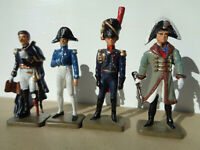 Starlux, lot of 4 Napoleonic French Officers soldiers 60mm Ney, metal v9