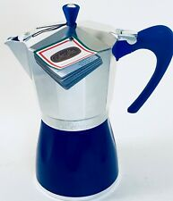 STOVE TOP/INDUCTION MOKA ITALIAN ESPRESSO MAKER by G.A.T 9cup ❀ BLUE TRIM ❀ NWT.