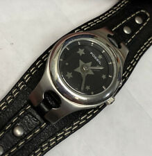 Fossil Big Tic Womens Watch W/ Stars Black Wide Leather Cuff Band New Battery