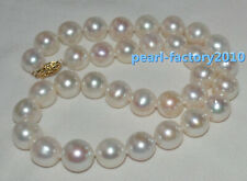 AAA 13-12MM Akoya GENUINE WHITE PEARL NECKLACE 14K Solid gold