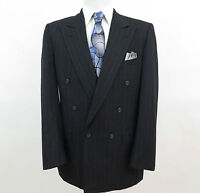 Burberry Prorsum Pure Wool Black Striped Men's Suit 40 R 35 x 30 EUC Made in USA