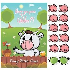 Pin the Udder on the Cow - Funny Party Game For Kids Farm Animal X 24 udders