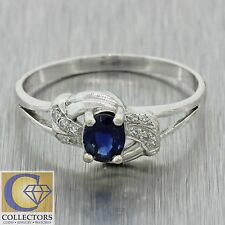 Vintage Estate 18k Solid White Gold .25ct Sapphire .10ctw Diamond Band Ring