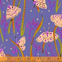 Heather Ross 20th Anniversary Moths Windham Cotton Quilt Fabric 42210A 14 Purple