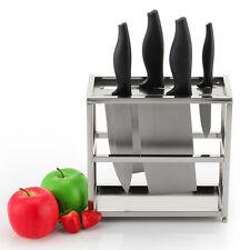 Kitchen Knife Block Set Stainless Steel Rack Holder Storage Adjustable Feet