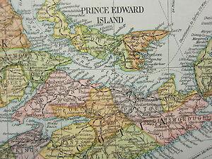 1919 Grande Mappa ~ Marittimo Province & Quebec Prince Edward Isola Nova Scotia