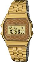 Casio Gold Chequered Dial Retro Digital Gold Plated Watch A159WGEA-9AEF UK Sell