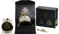 MASONIC Gold POCKET WATCH Chain  and Tie Clip Luxury Set Gift in Case FREEMASON