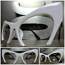 Women VINTAGE RETRO 60s CAT EYE Style Clear Lens EYE GLASSES White & Black Frame