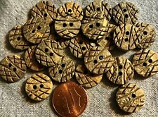 "24 Carved Natural Coconut Shell Sew-through 2-hole Buttons 9/16"" 14.5mm  # 4896"