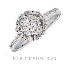 Genuine Diamond Octagonal Cluster Ring 0.50ct F VS Brilliant Cut 18ct White Gold
