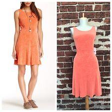 NWT Free People sz S Orange Stretch Knit Lace Open Back Mini Lady Jane Dress