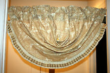 Gorgeous Croscill waterfall valance with gold embroidery & ruffled edges