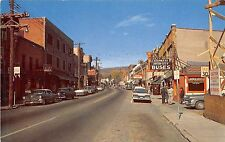 B14/ Liberty New York NY Postcard Chrome Main Street Drug Store Bus Stop